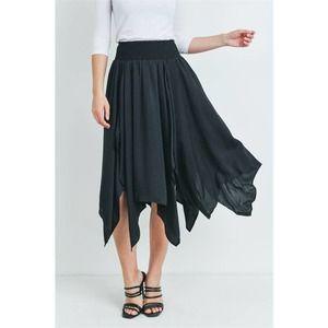 Black Asymmetrical Hem Midi Skirt